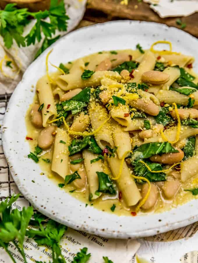 Plate of Lemony Pasta with Greens and Beans