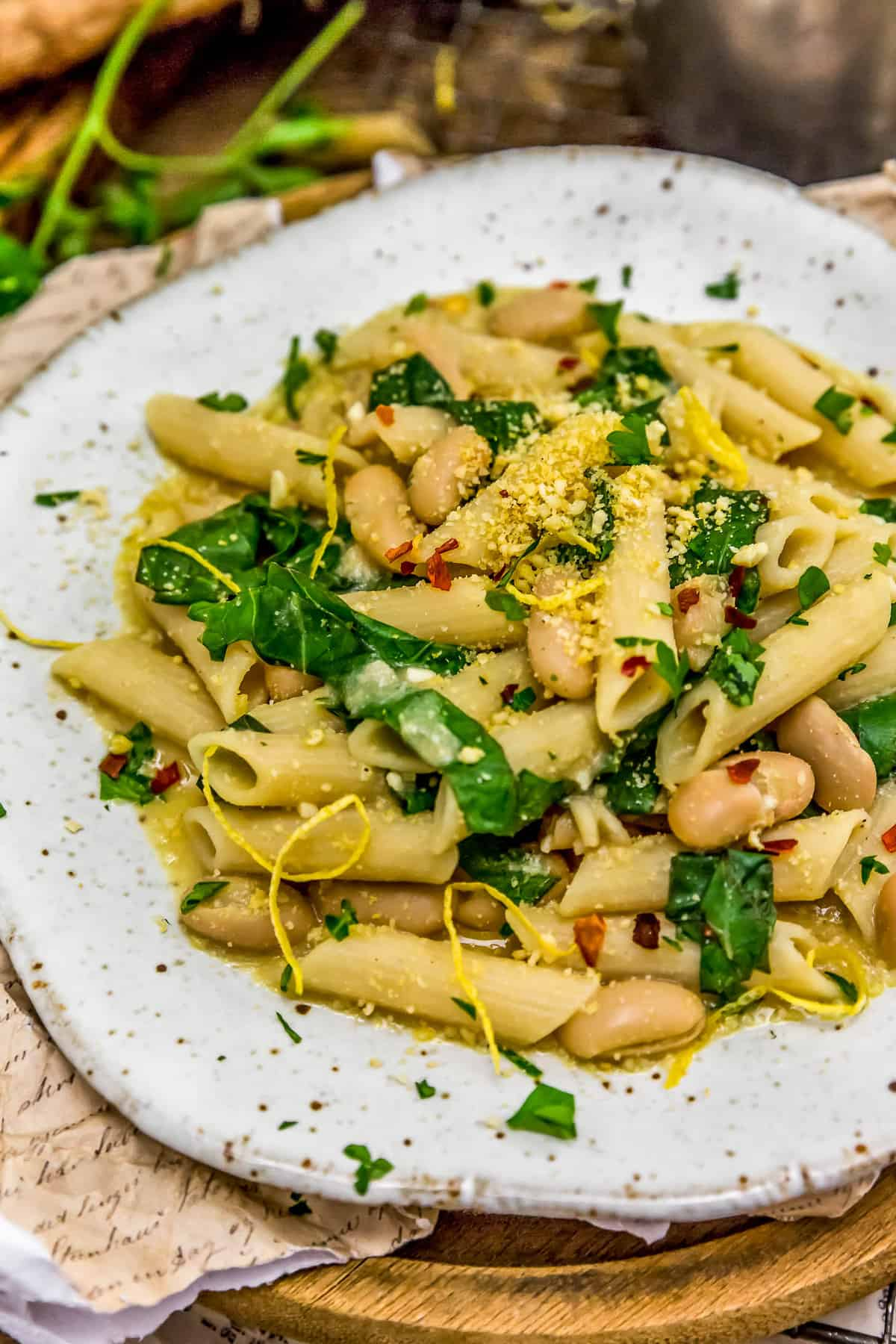 Lemony Pasta with Greens and Beans