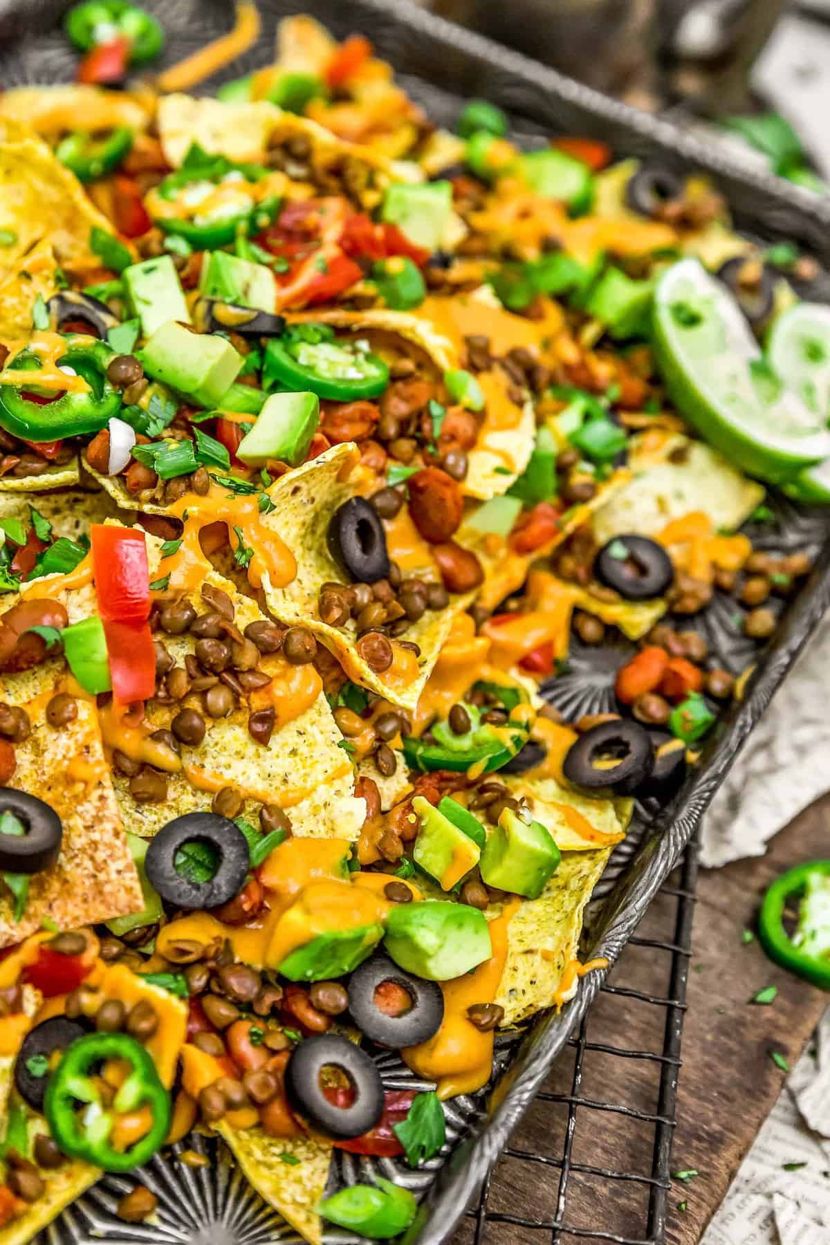 Close up of Nachos with Nut Free Vegan Nacho Cheese Sauce