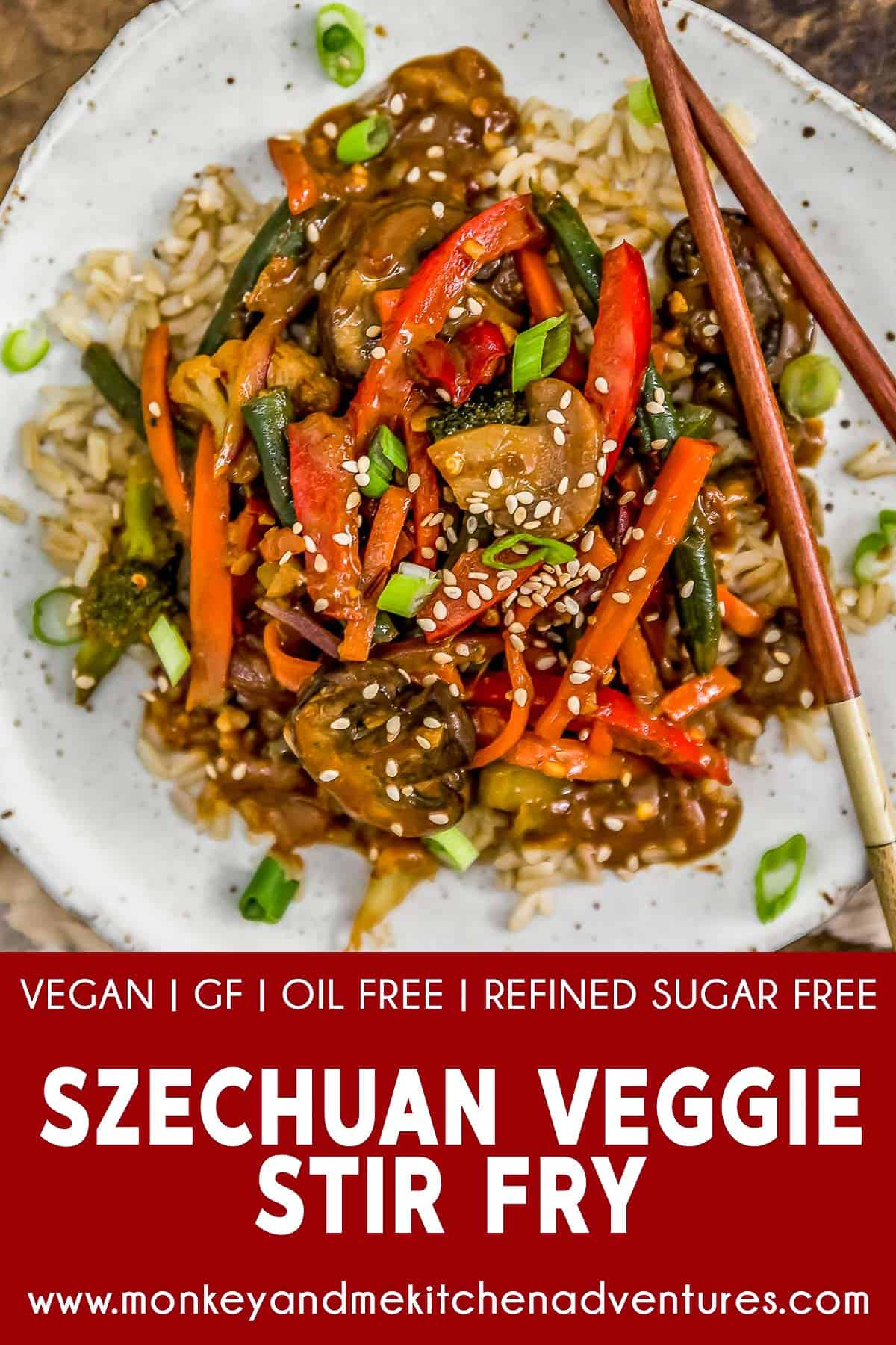 Szechuan Veggie Stir Fry with text description