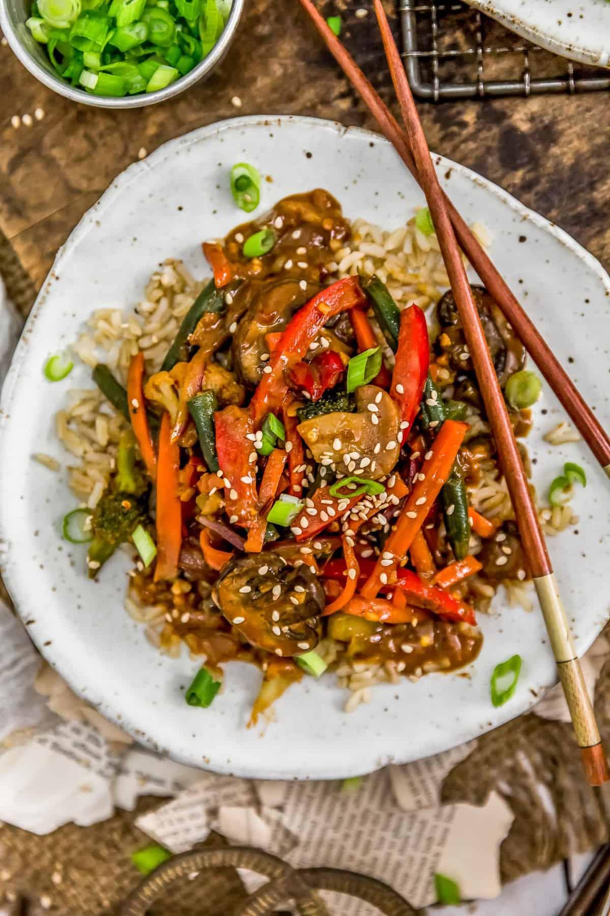Plate of Szechuan Veggie Stir Fry