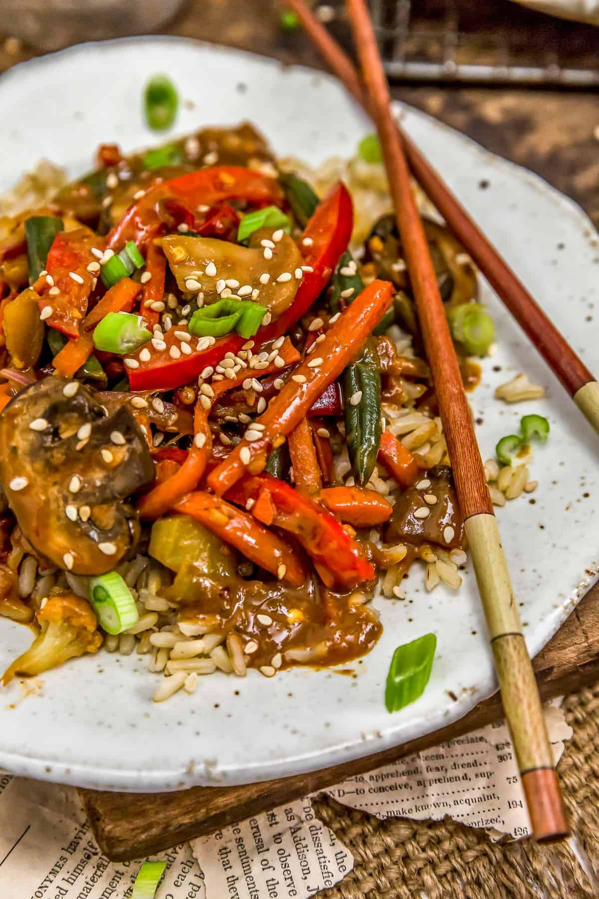 Close up of Szechuan Veggie Stir Fry