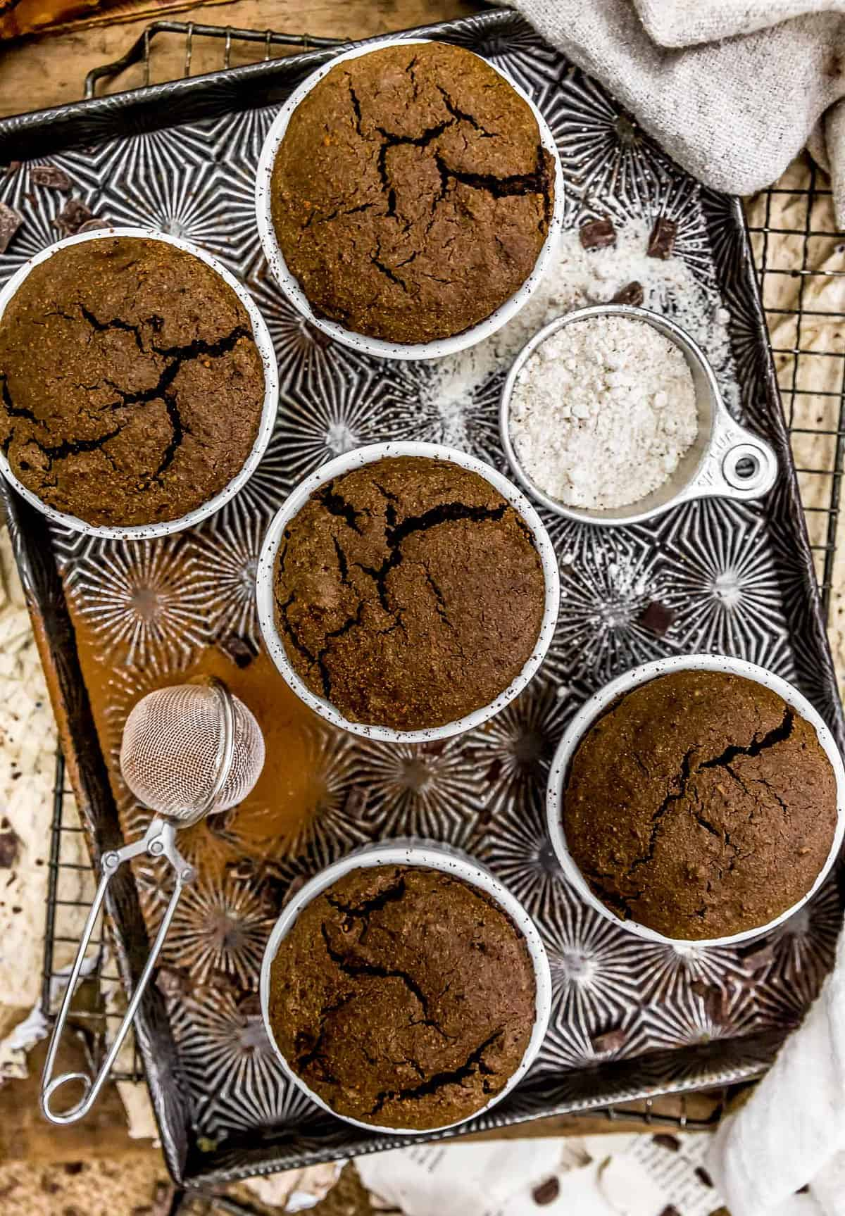 Baking tray with Vegan Chocolate Molten Lava Soufflés