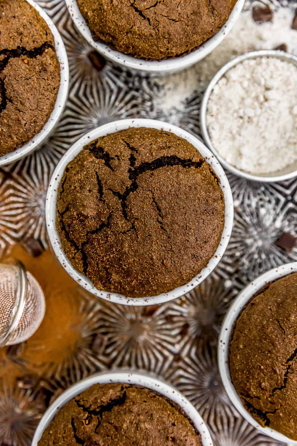 Vegan Chocolate Molten Lava Soufflés on a tray
