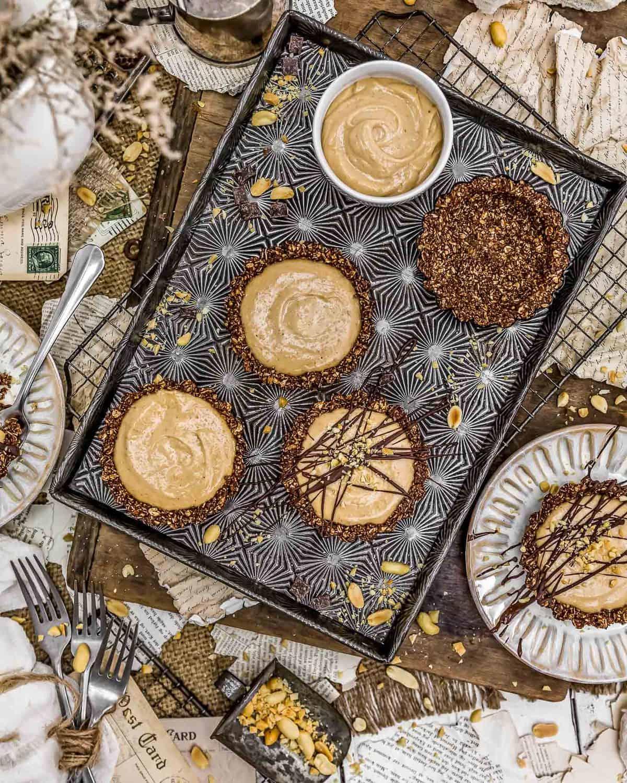 Tablescape of Vegan Peanut Butter Pies
