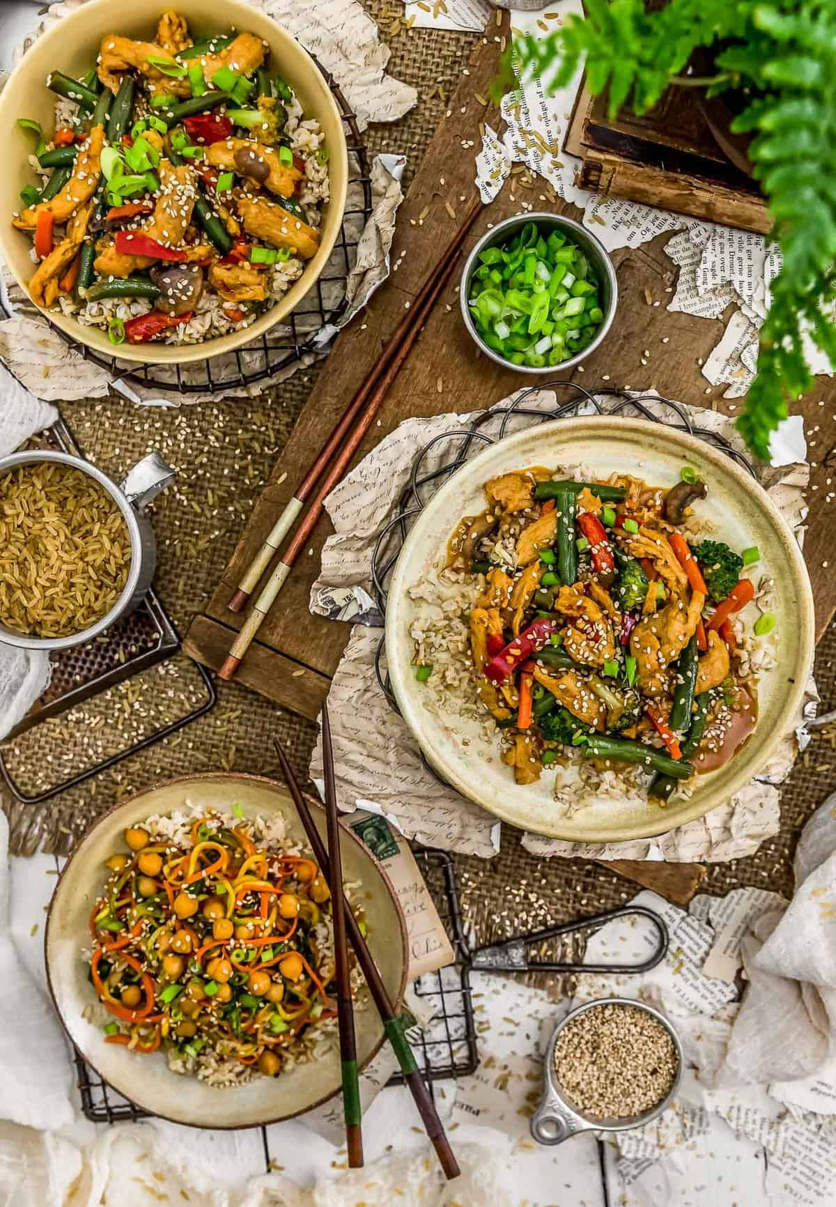 Tablescape of Vegan Spicy Honey Garlic Stir Fry
