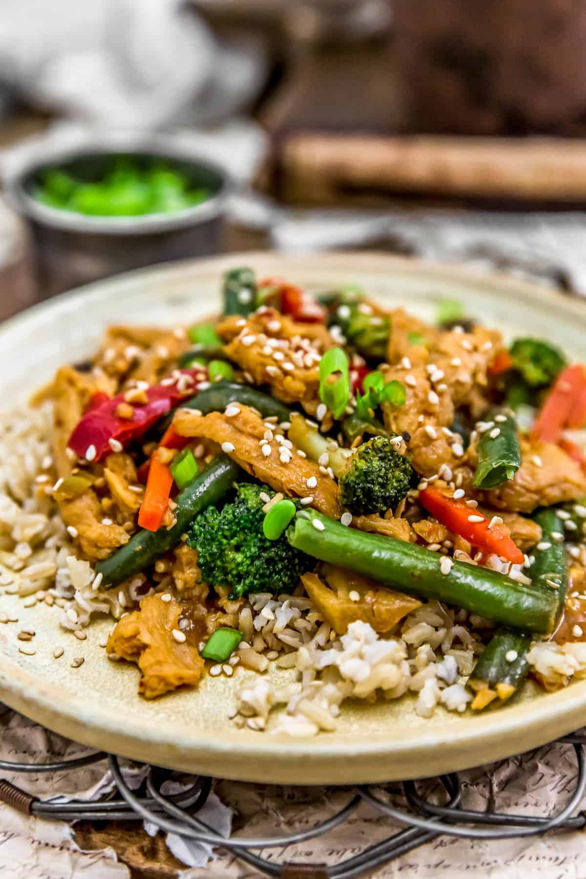 Close up of Vegan Spicy Honey Garlic Stir Fry