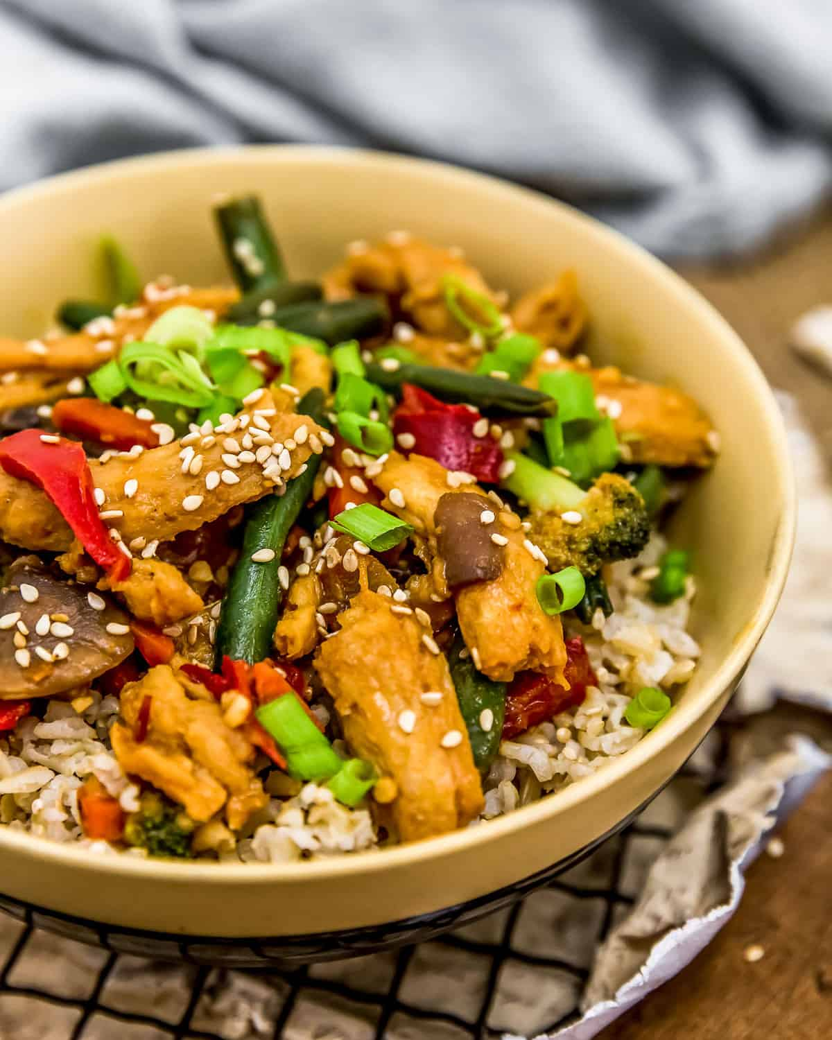 Bowl of Vegan Spicy Honey Garlic Stir Fry