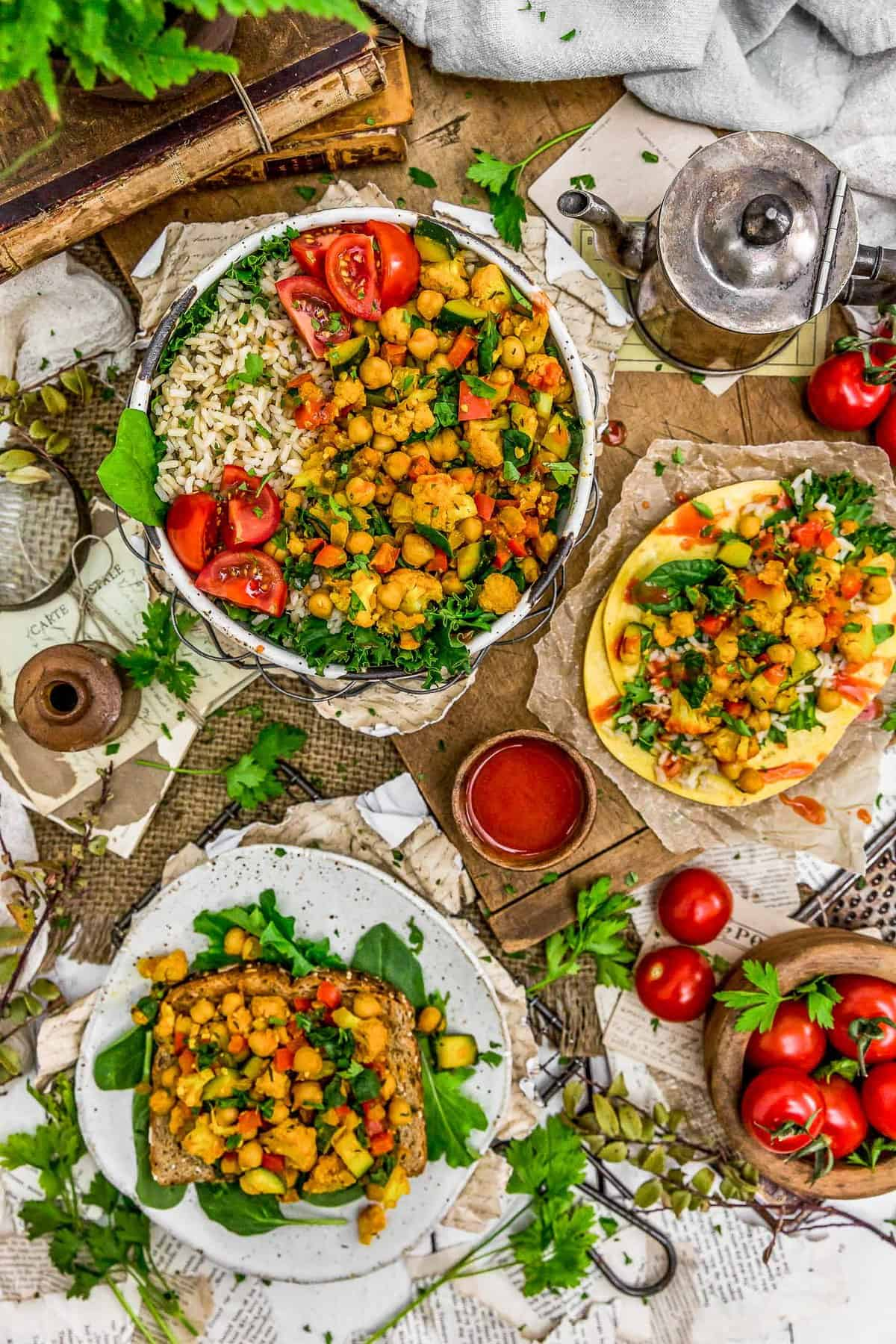 Tablescape of Veggie Breakfast Scramble