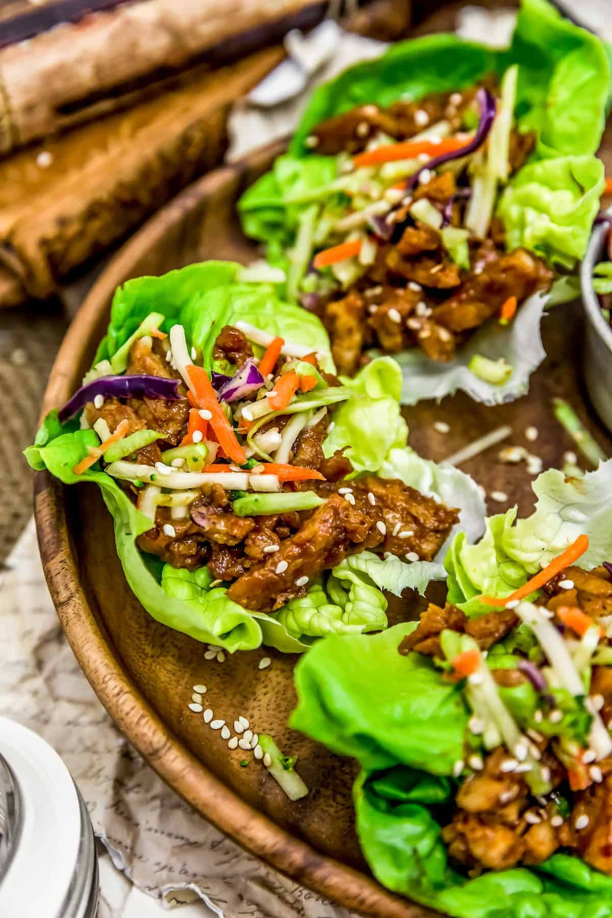 Chinese Five Spice Barbecue Sauce Soy Curl Lettuce Cups