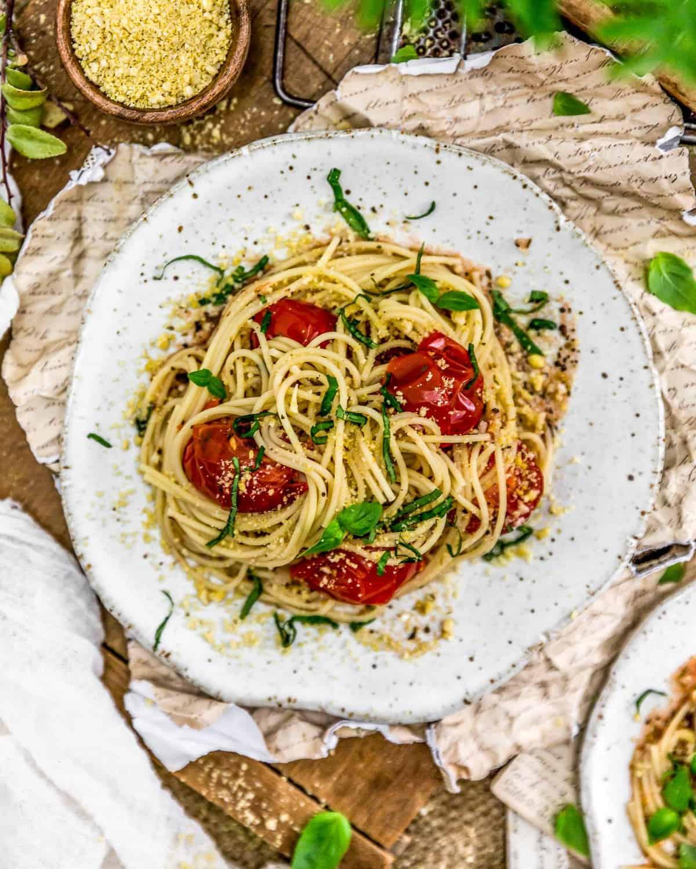 Plate of Italian Fresh Tomato Basil Pasta