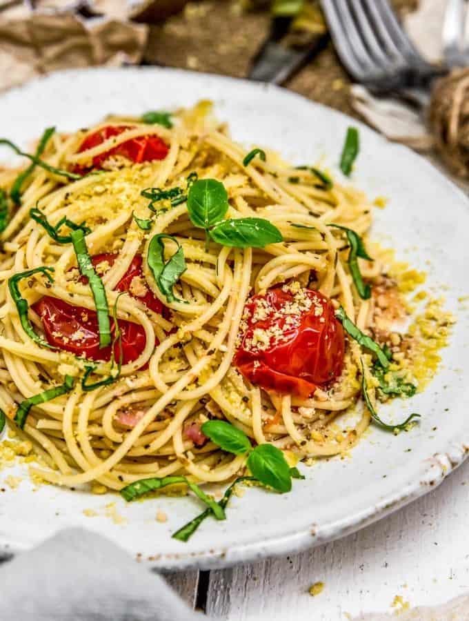 Close up of Italian Fresh Tomato Basil Pasta