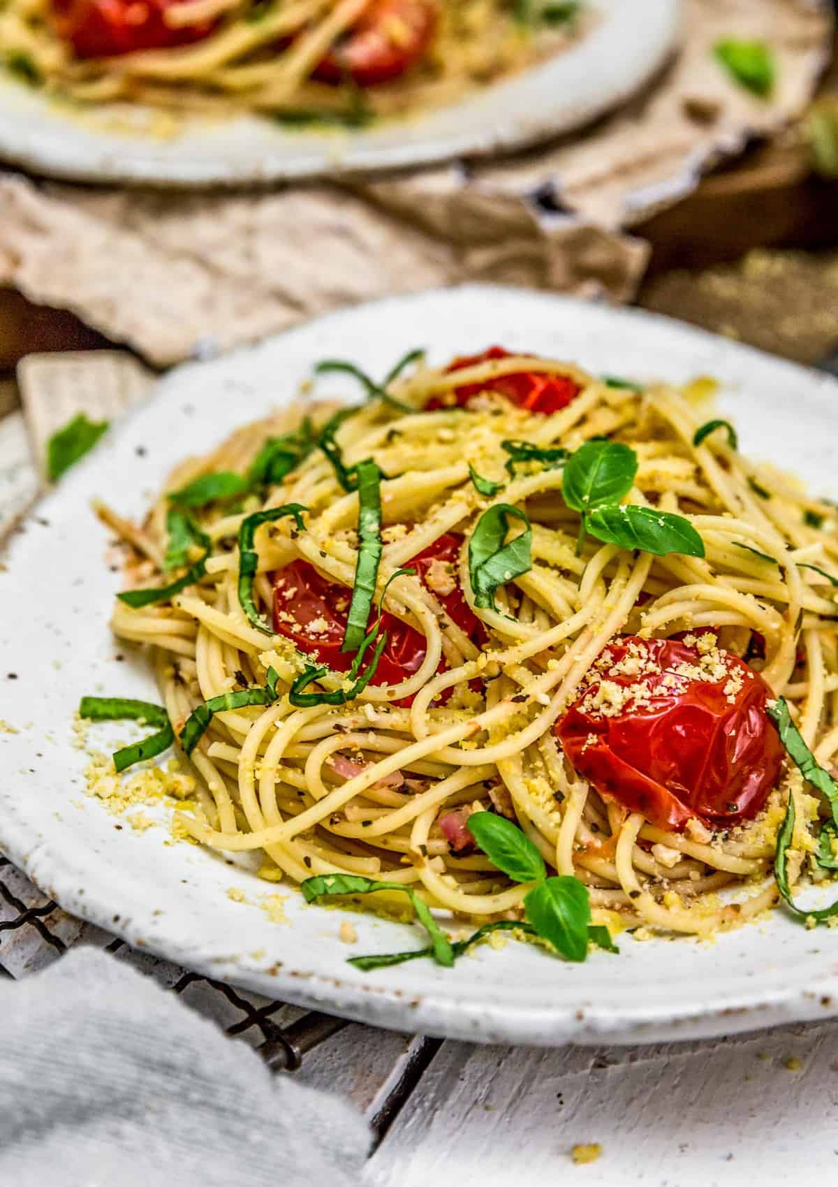 Plates of Italian Fresh Tomato Basil Pasta