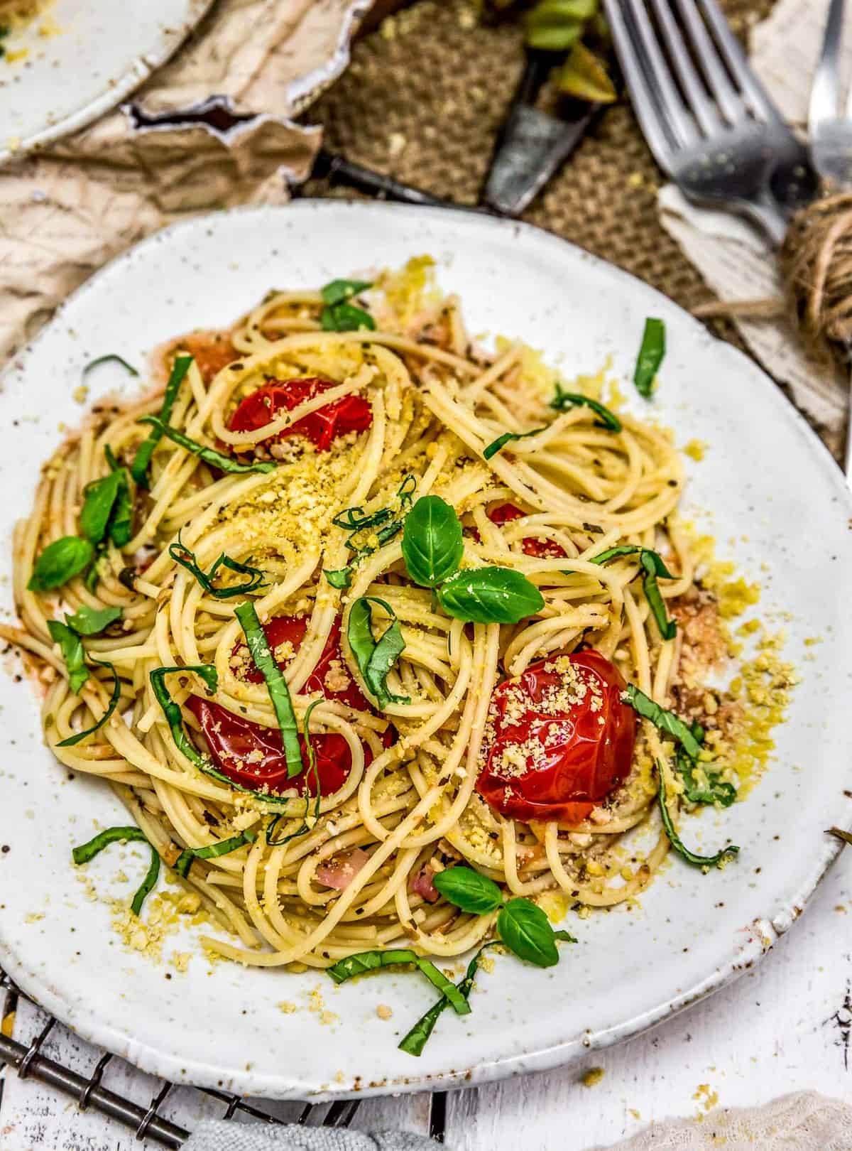 Italian Fresh Tomato Basil Pasta on a plate