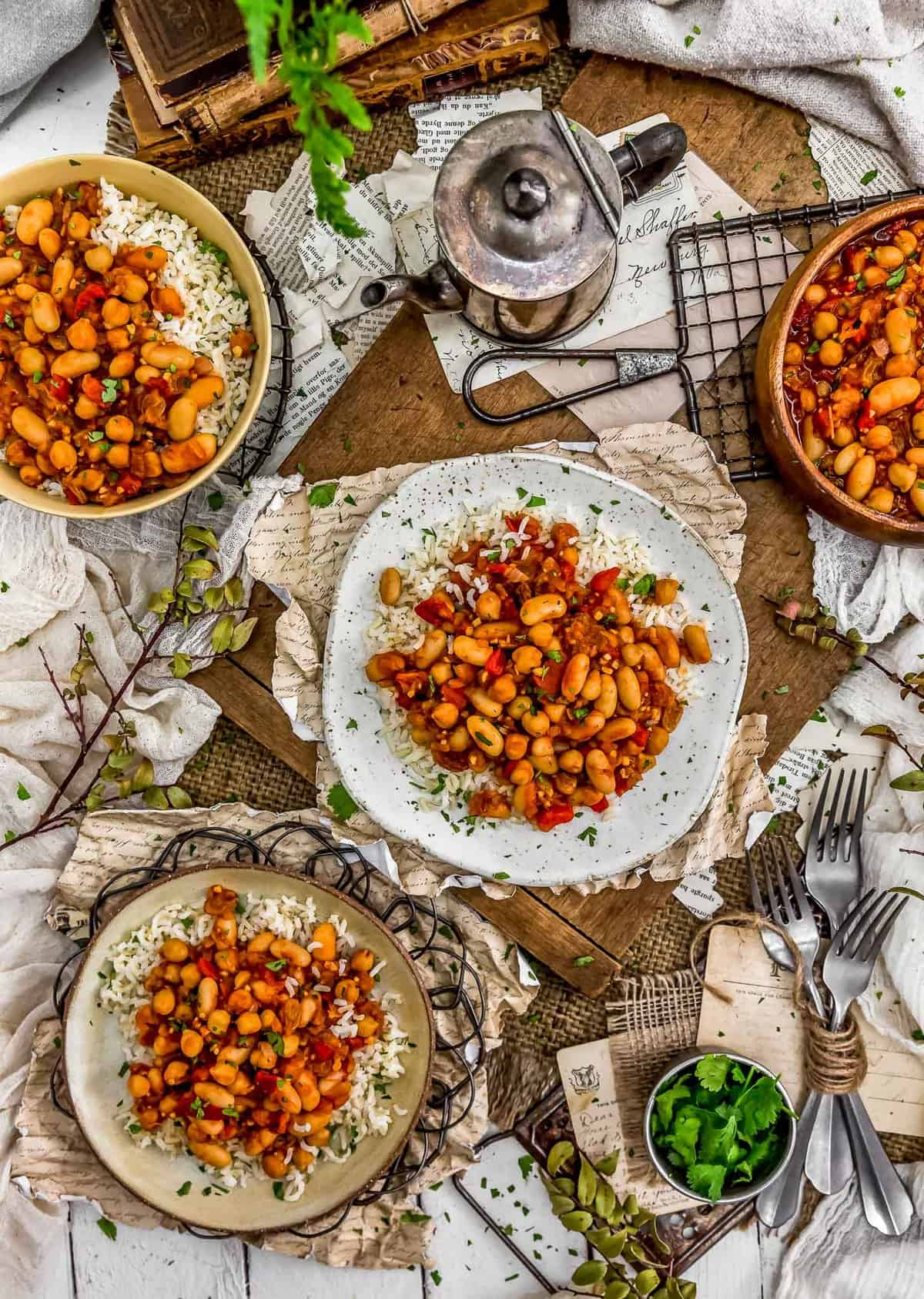 Tablescape of Moroccan Skillet Beans