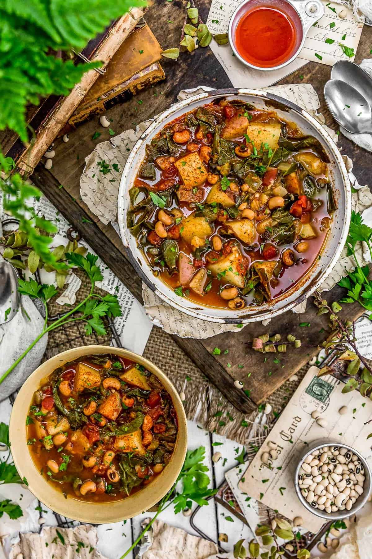 Tablescape of Southern Collard Green Potato Stew