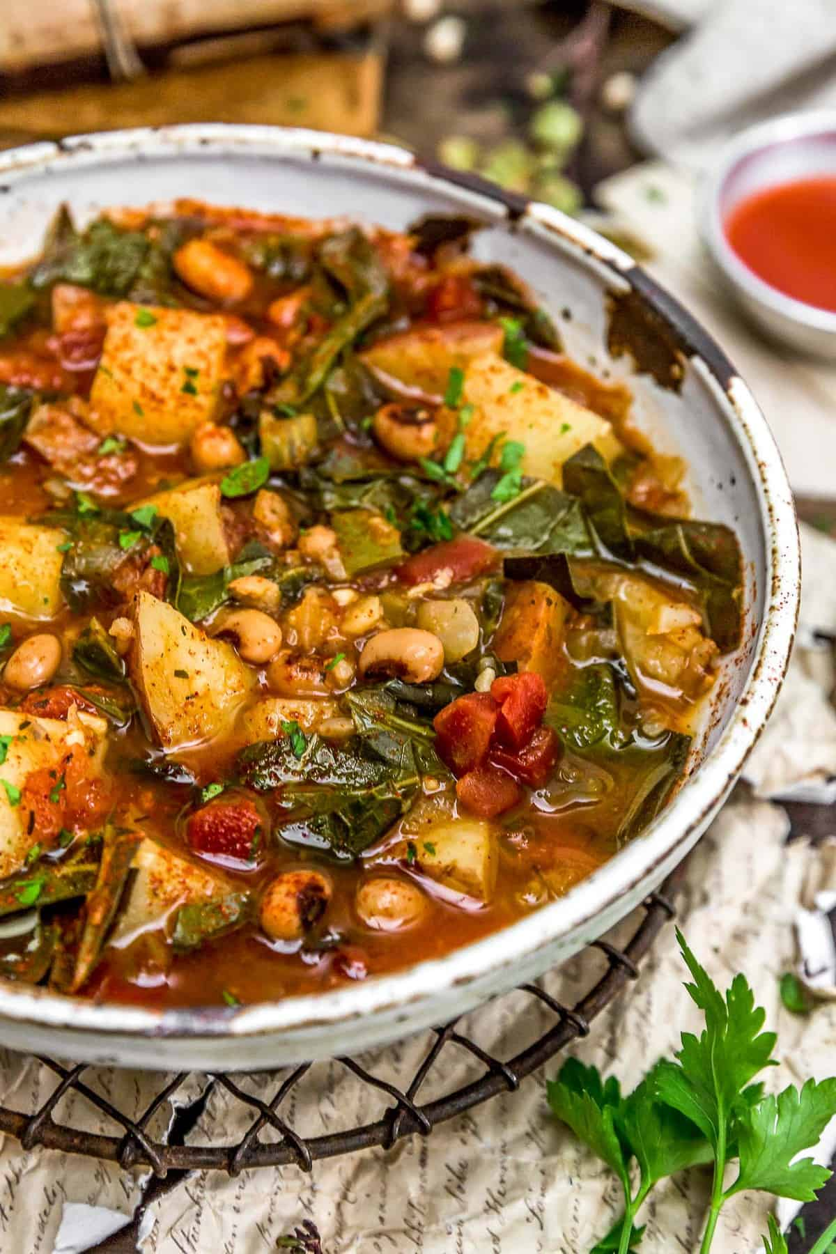 Bowl of Southern Collard Green Potato Stew