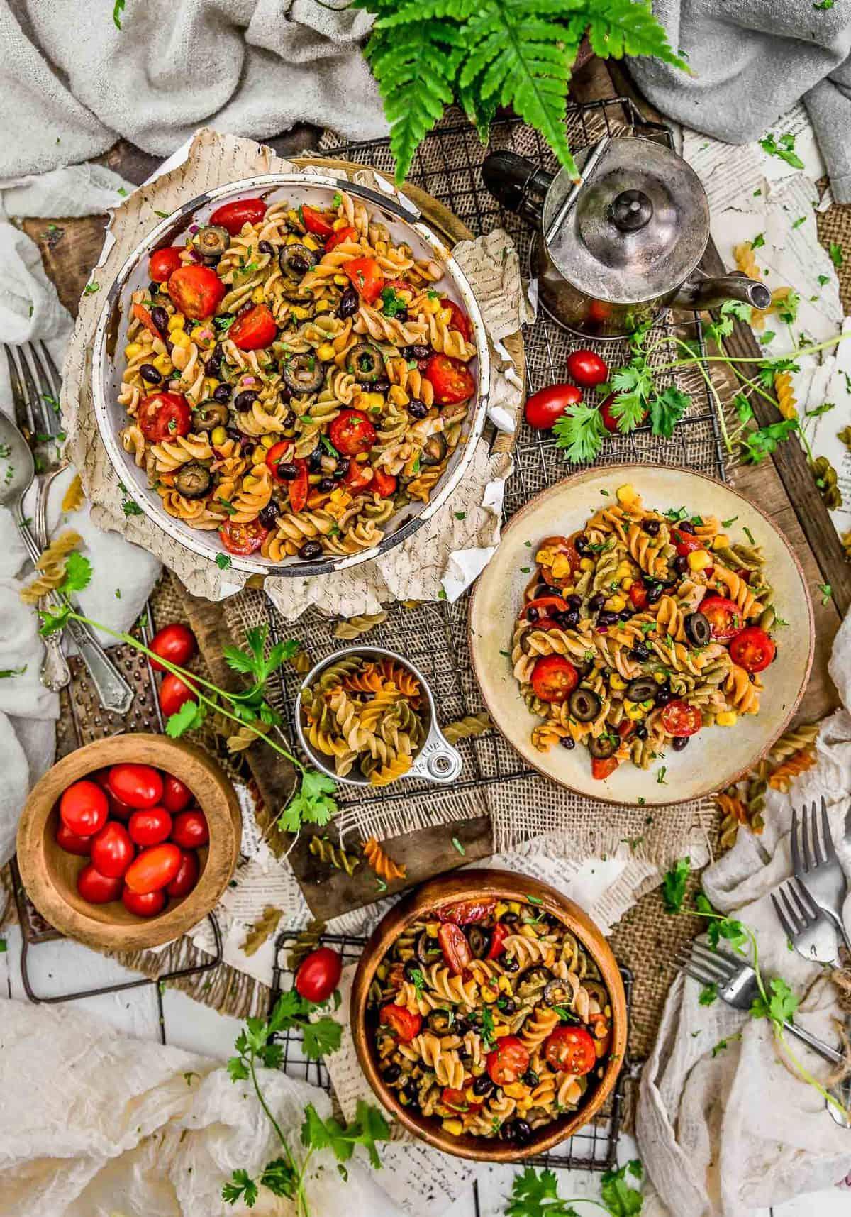 Tablescape of Tex-Mex Pasta Salad