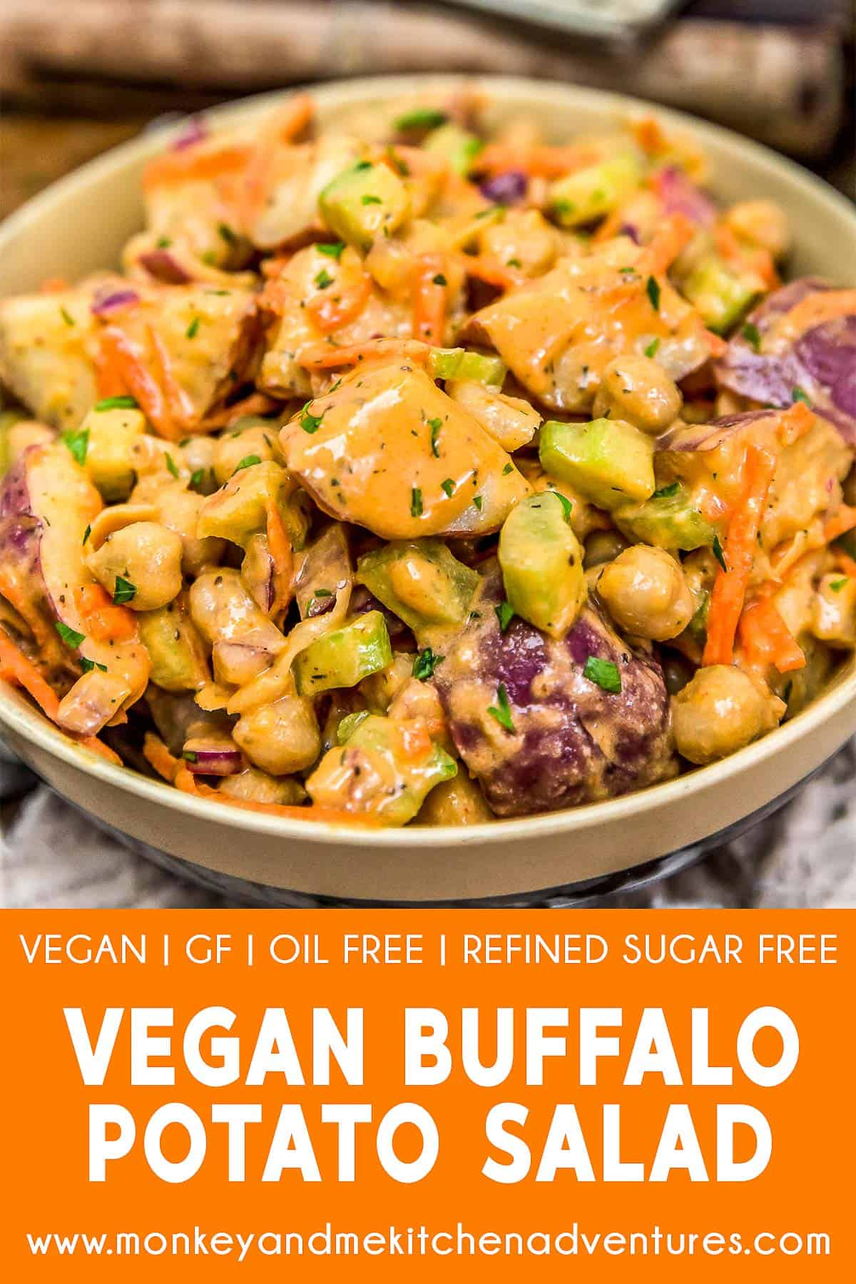 Vegan Buffalo Potato Salad with text description