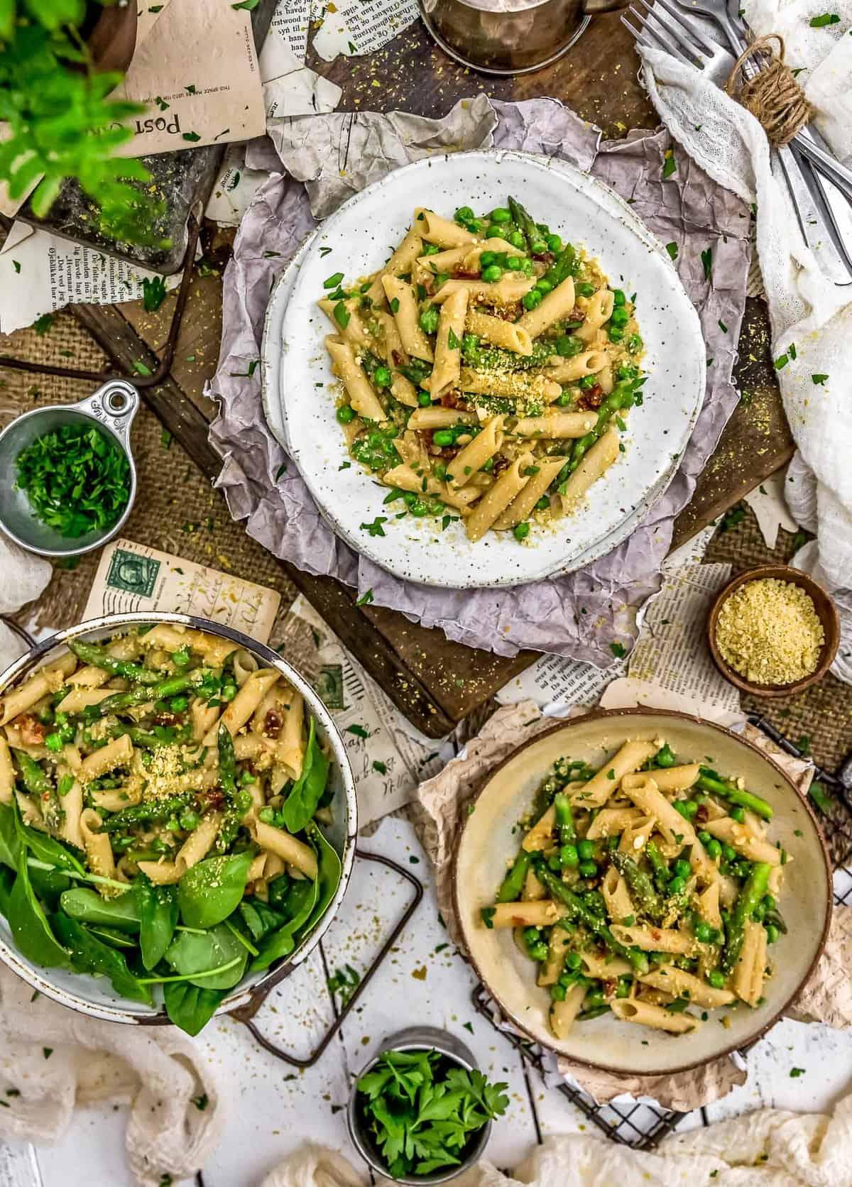 Tablescape of Vegan Carbonara Pasta