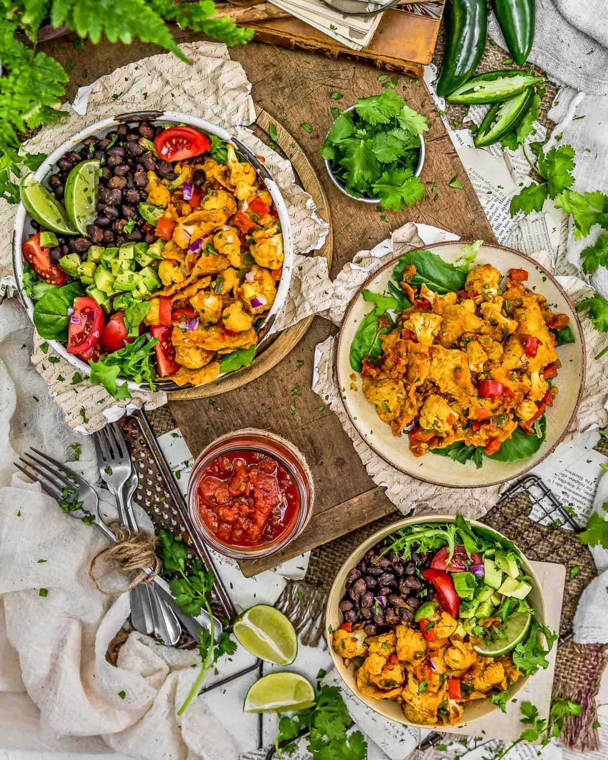 Tablescape of Vegan Cauliflower Migas