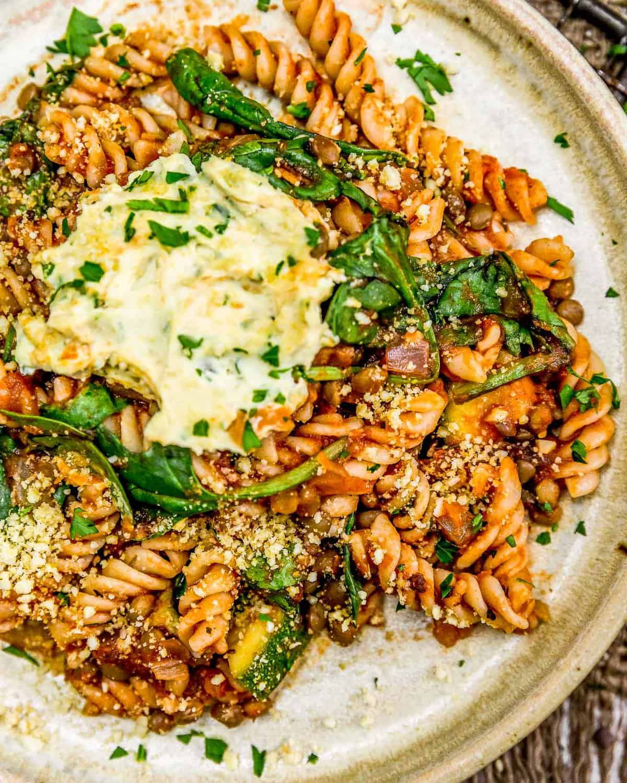Close up of Veggie Skillet Lasagna