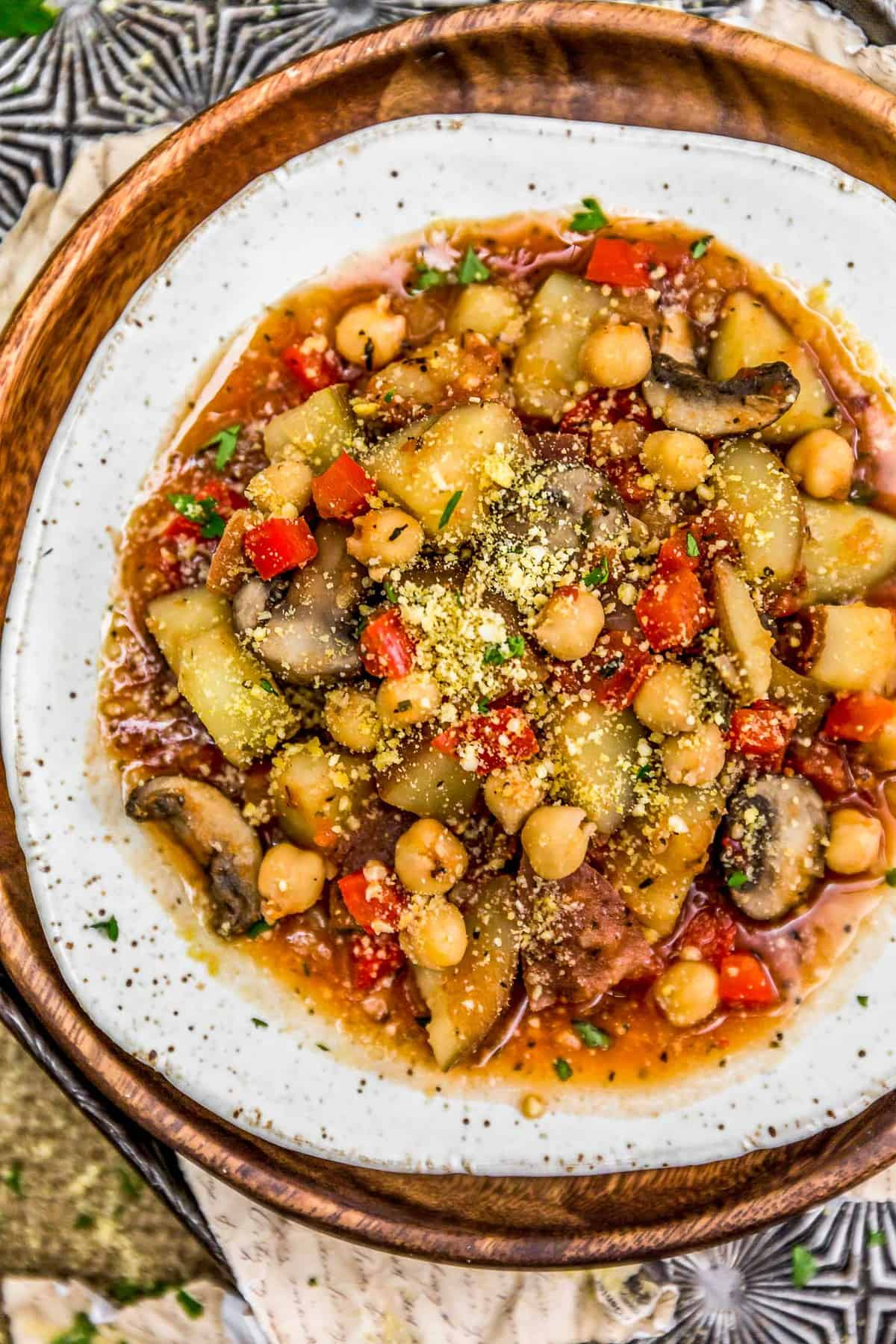 Plated Chickpea Potato Cacciatore
