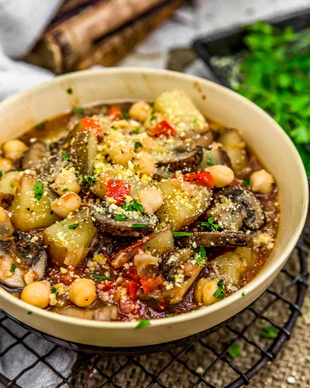 Chickpea Potato Cacciatore in a bowl