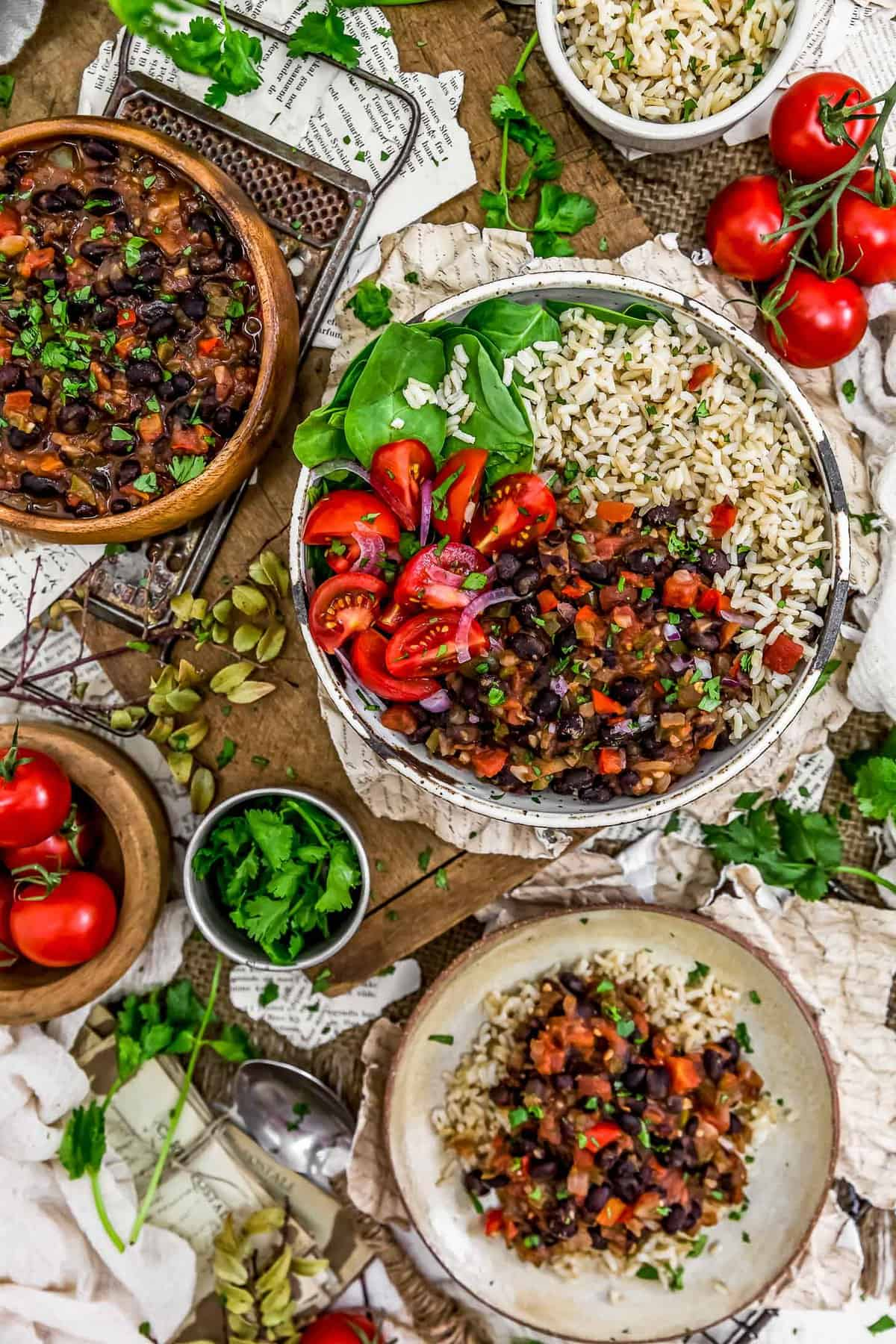 Tablescape of Cuban Black Beans