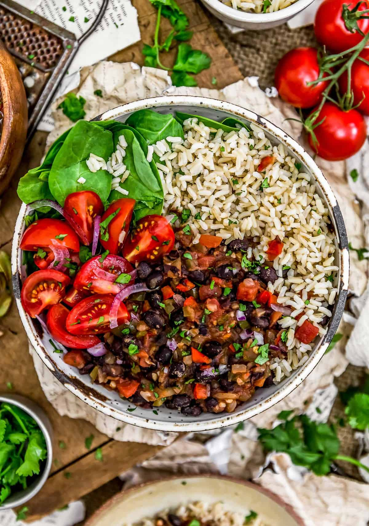 Buddha bowl of Cuban Black Beans