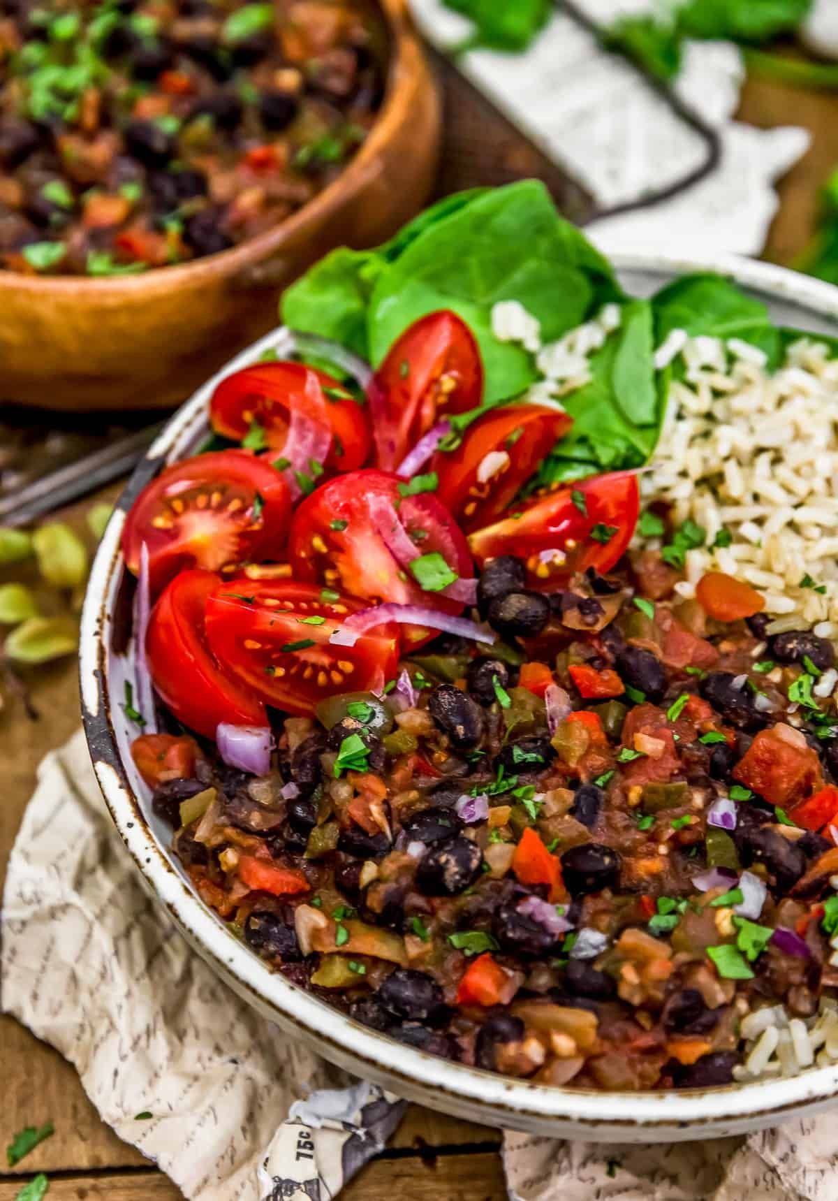 Close up of Cuban Black Beans