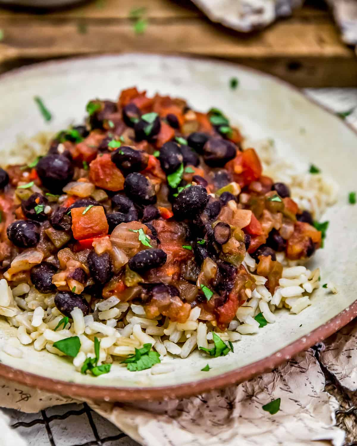 Plate of Cuban Black Beans with rice