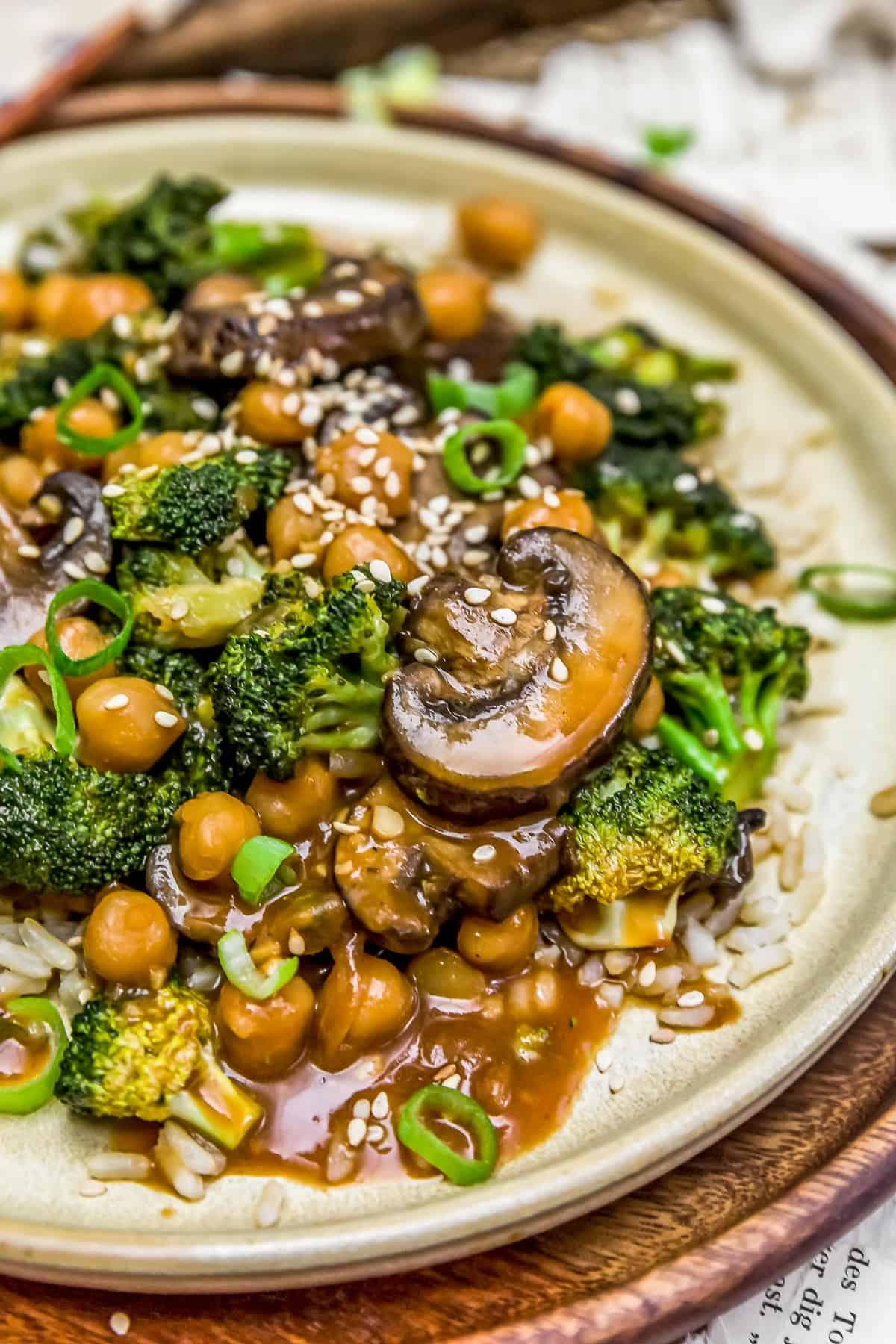 Close up of General Tso's Broccoli Mushroom Stir Fry