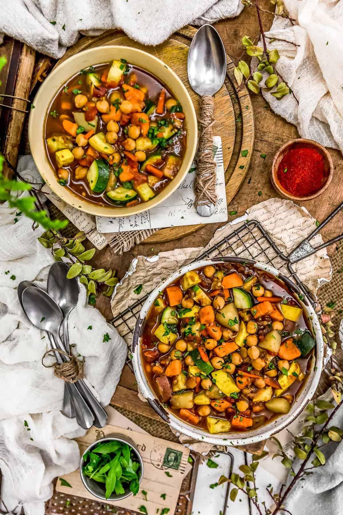 Tablescape of Jamaican Veggie Soup