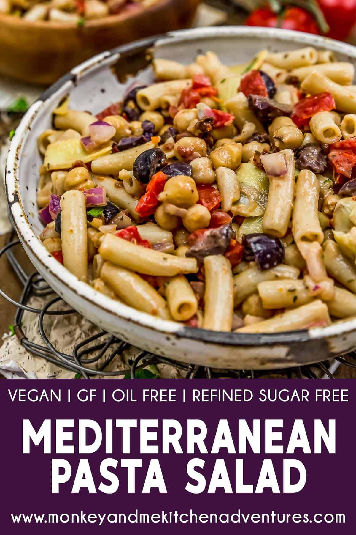 Mediterranean Pasta Salad with text description
