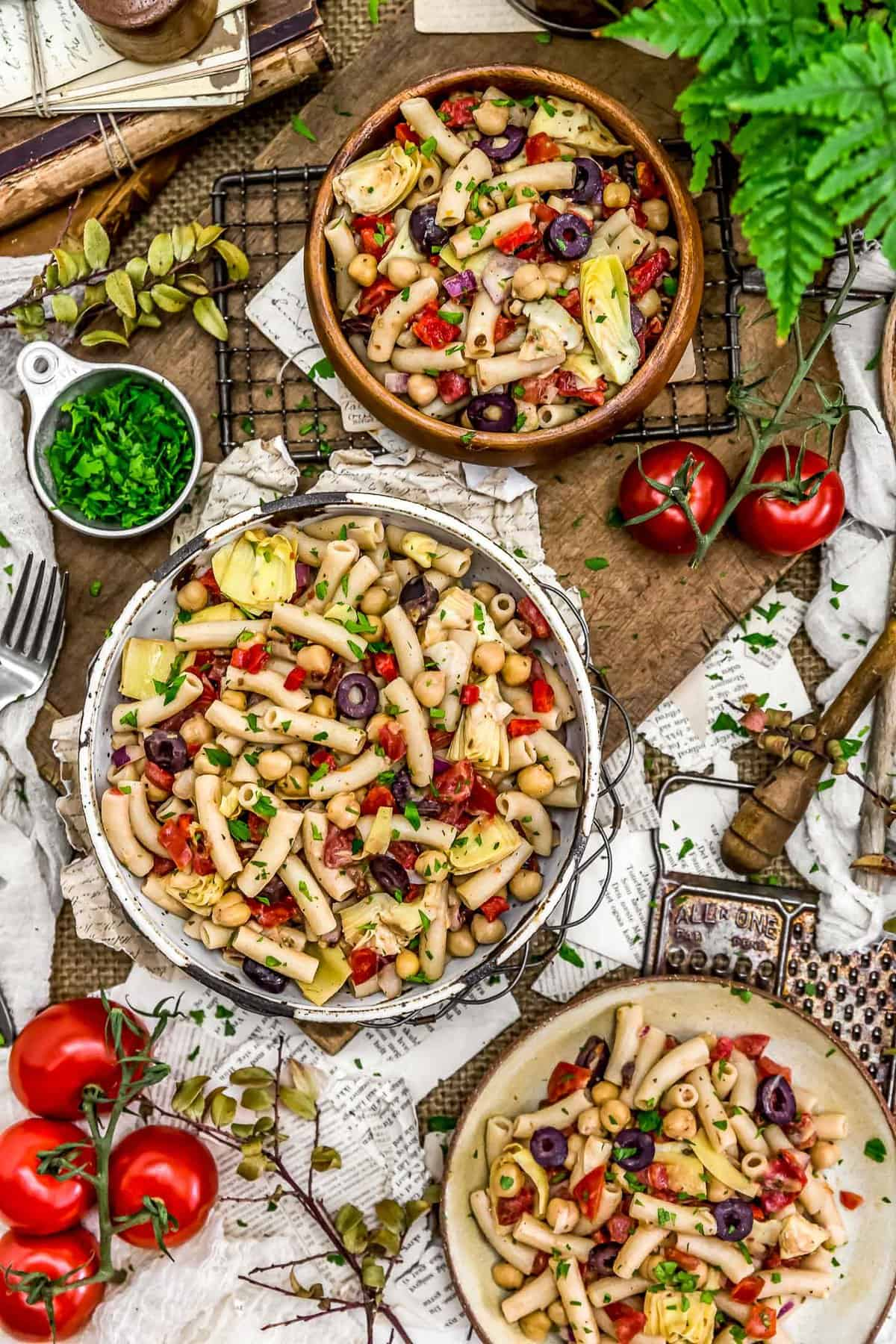 Tablescape of Mediterranean Pasta Salad