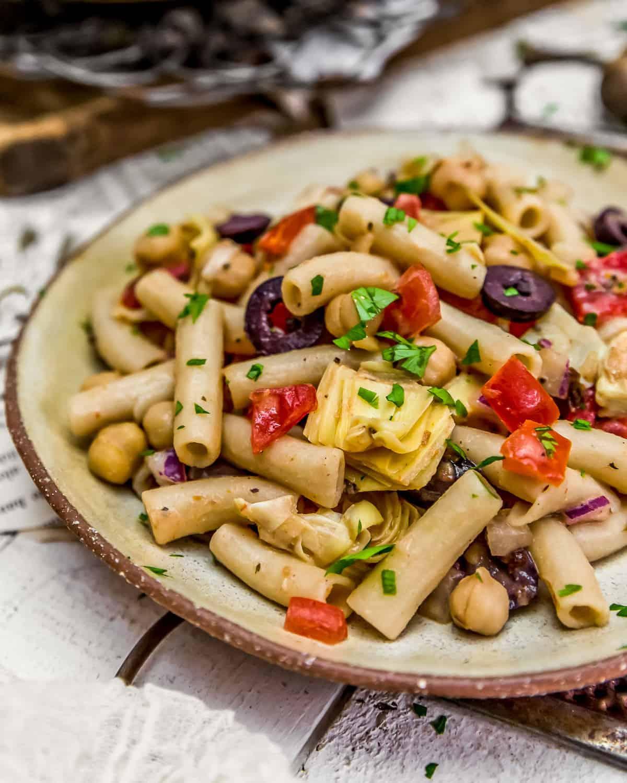 Plated Mediterranean Pasta Salad