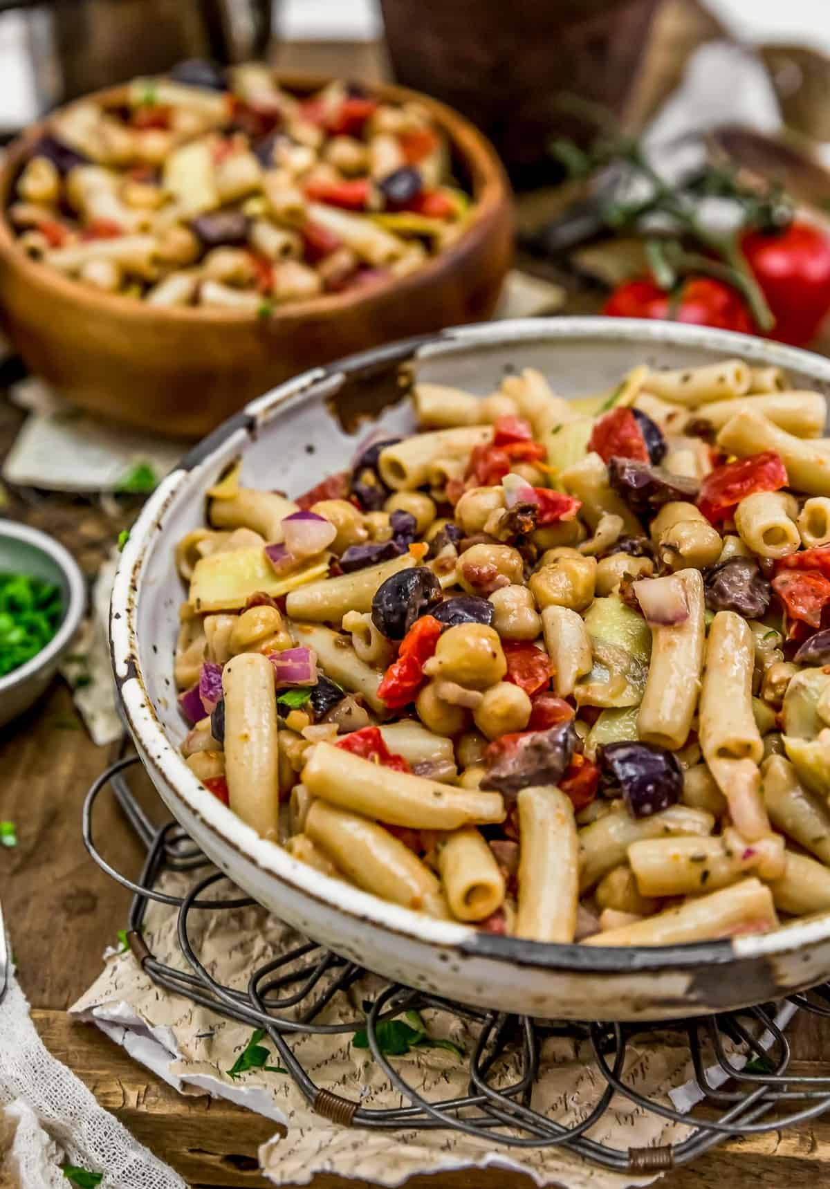 Close up of Mediterranean Pasta Salad