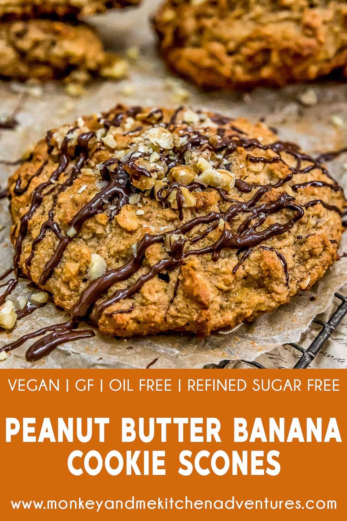 Peanut Butter Banana Cookie Scones with text description