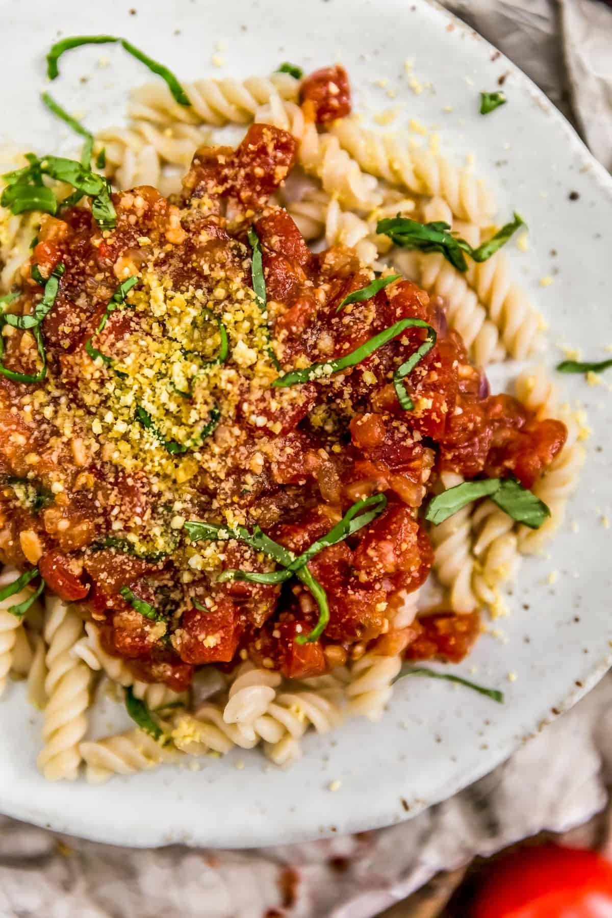 Spicy Arrabbiata Sauce over pasta