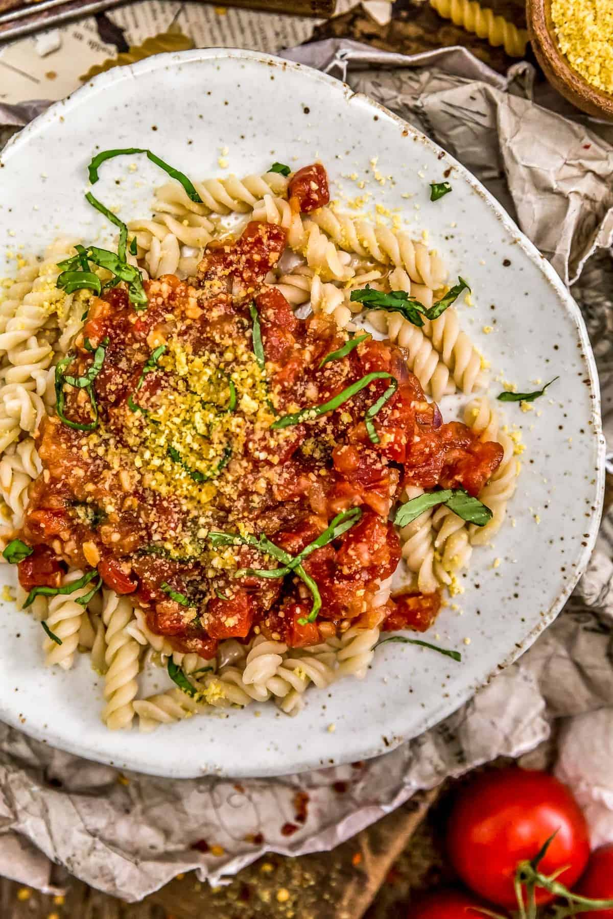 Plated of pasta with Spicy Arrabbiata Sauce