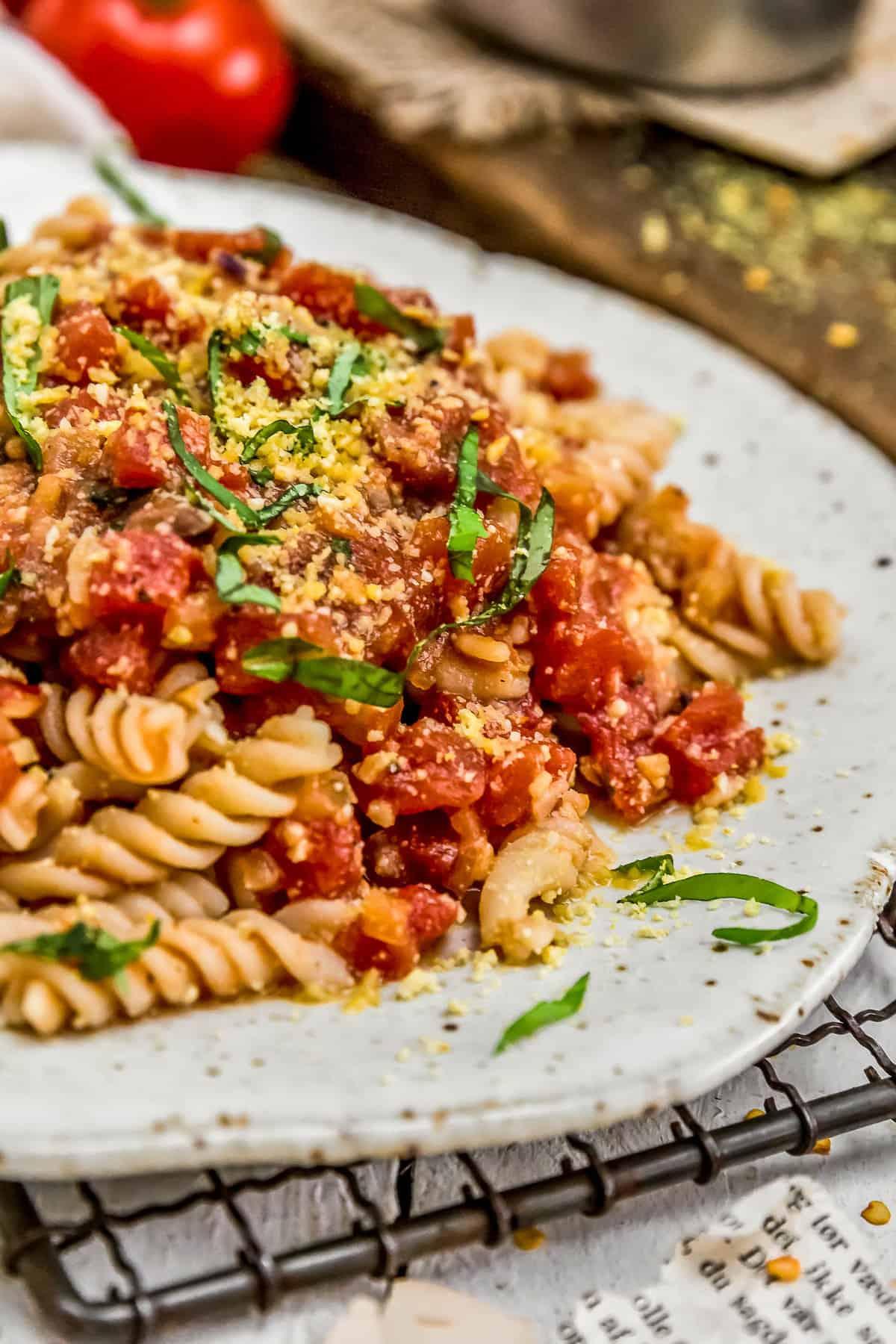 Close up of Spicy Arrabbiata Sauce with pasta