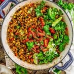 Skillet of Tex-Mex Spicy Veggie Rice