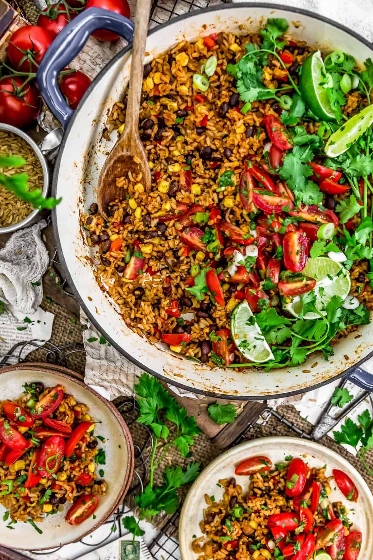Tablescape of Tex-Mex Spicy Veggie Rice