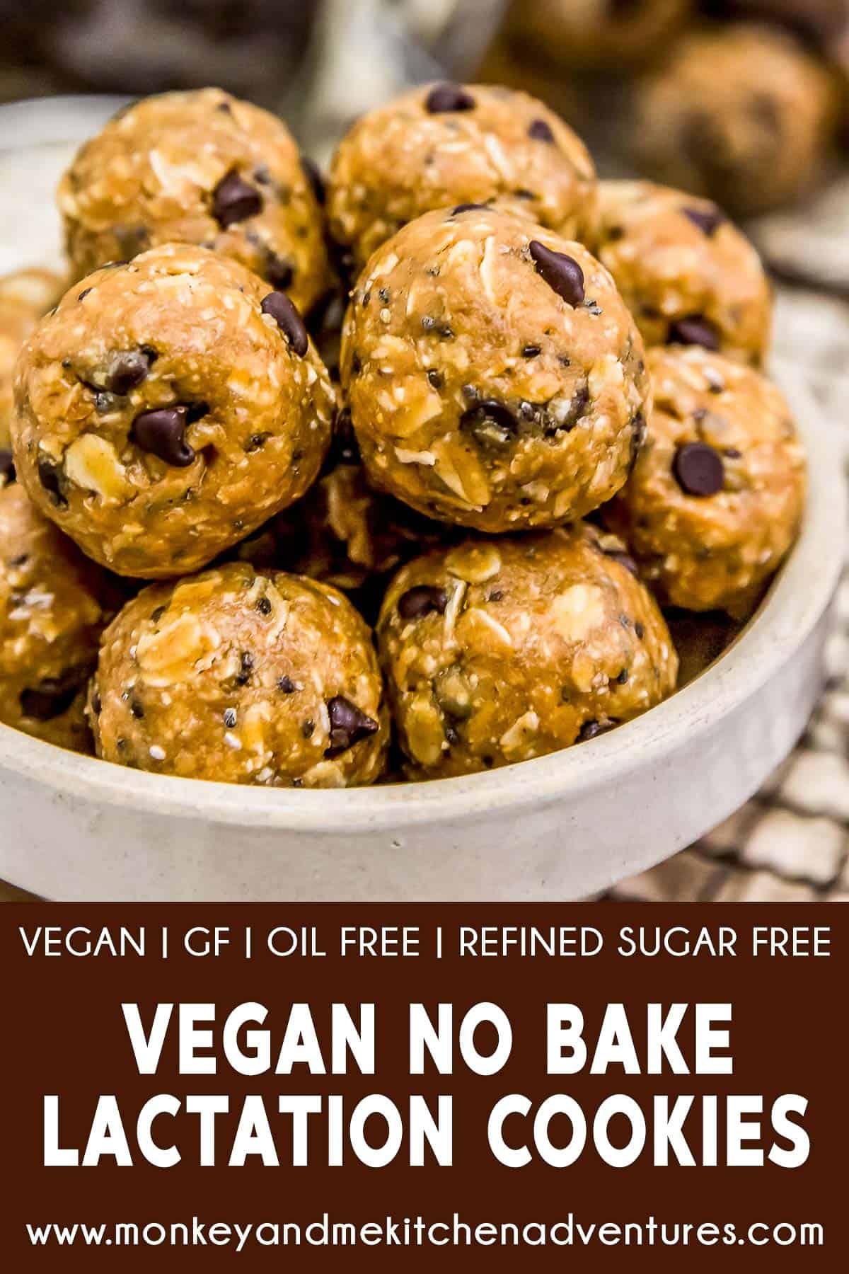 Vegan No-Bake Lactation Cookies with text description