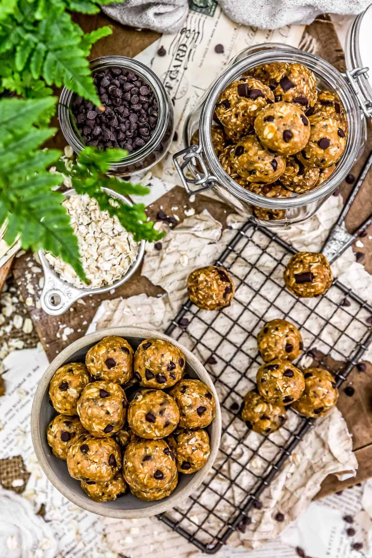 Tablescape of Vegan No-Bake Lactation Cookies