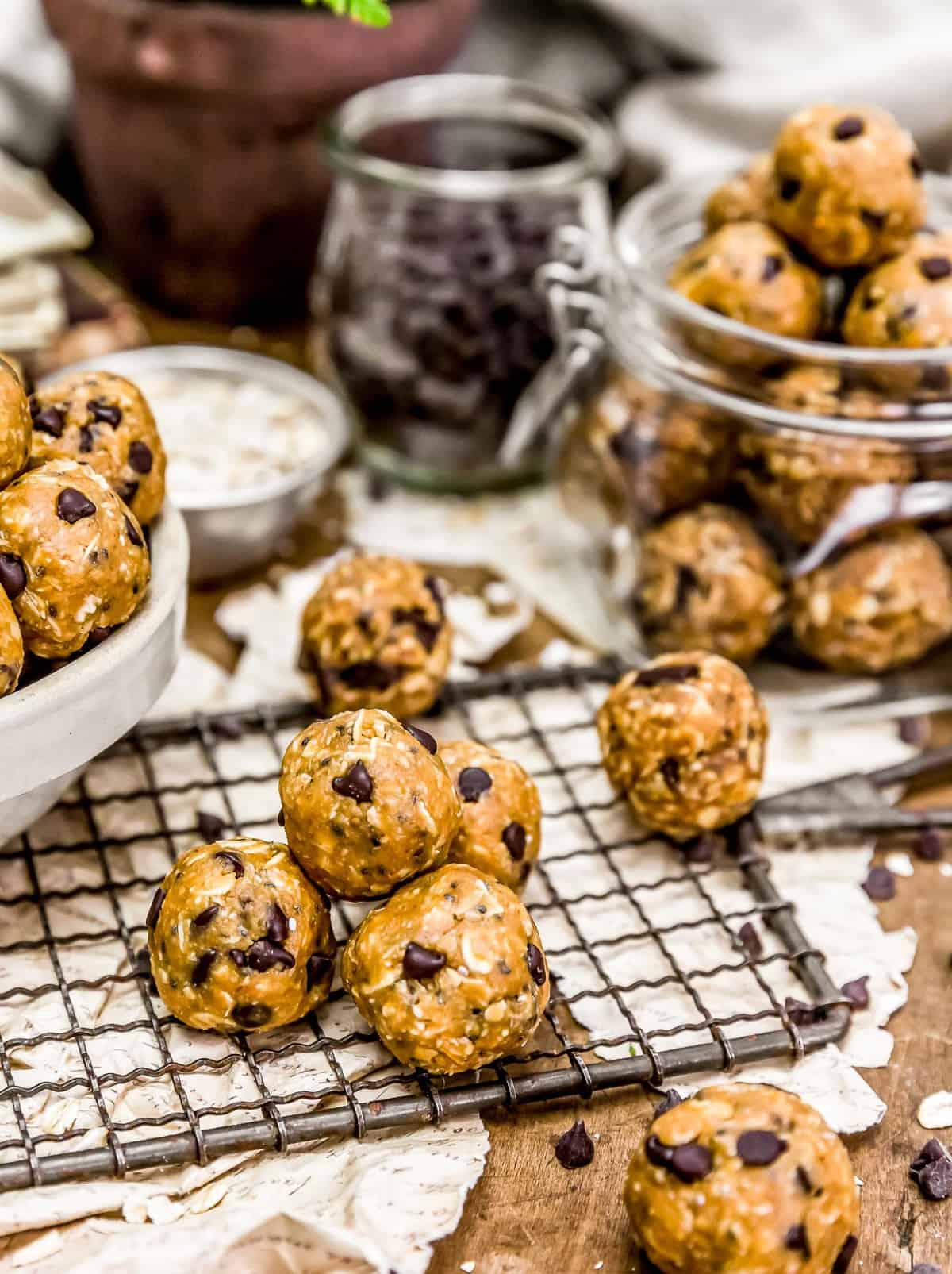 Jar and bowl of Vegan No-Bake Lactation Cookies