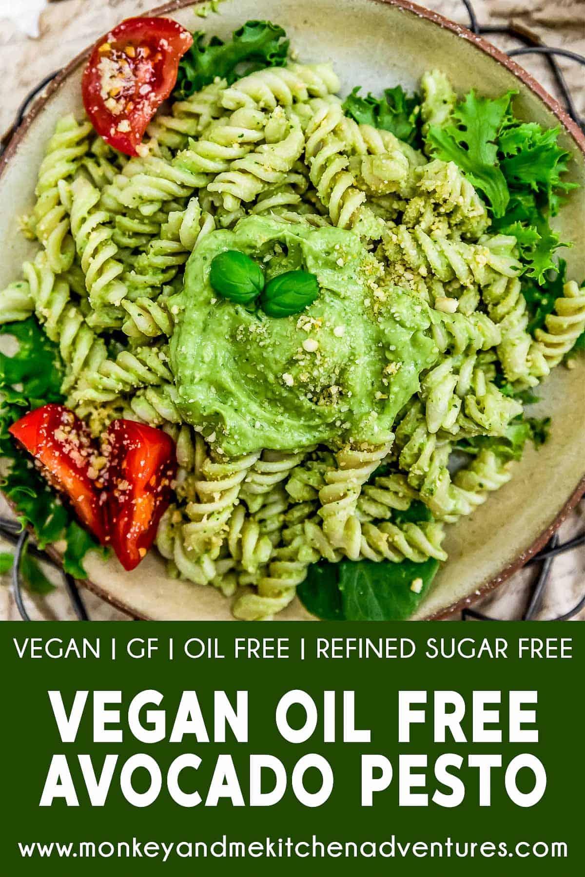 Vegan Oil Free Avocado Pesto with text description