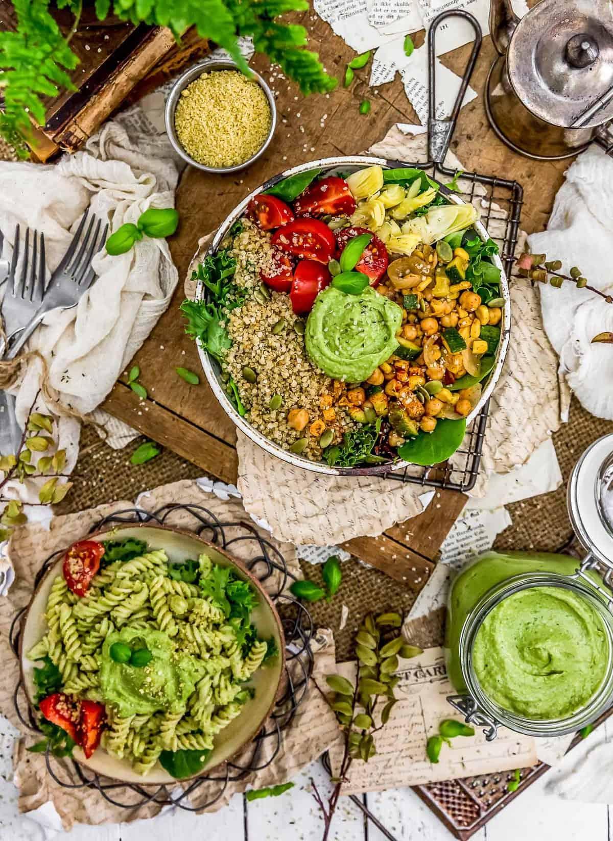 Tablescape of Vegan Oil Free Avocado Pesto