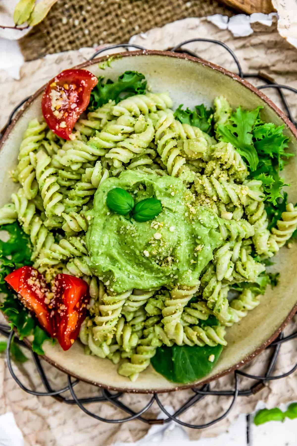 Pasta and Vegan Oil Free Avocado Pesto